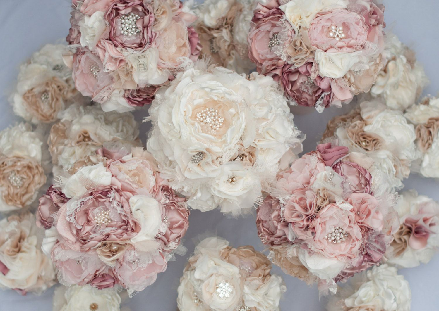 Fabric bouquet custom wedding bouquet with vintage rhinestone fabric bouquet custom wedding bouquet with vintage rhinestone and pearl brooches choose your dhlflorist Gallery