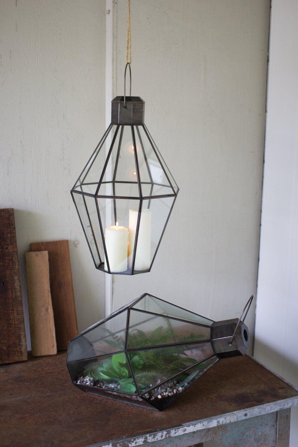 Kalalou Metal And Glass Terrarium Lantern Products Pinterest