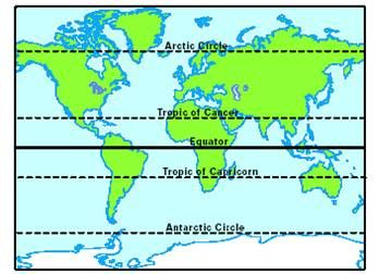 north america map tropic of cancer | between the Antarctic Circle ...