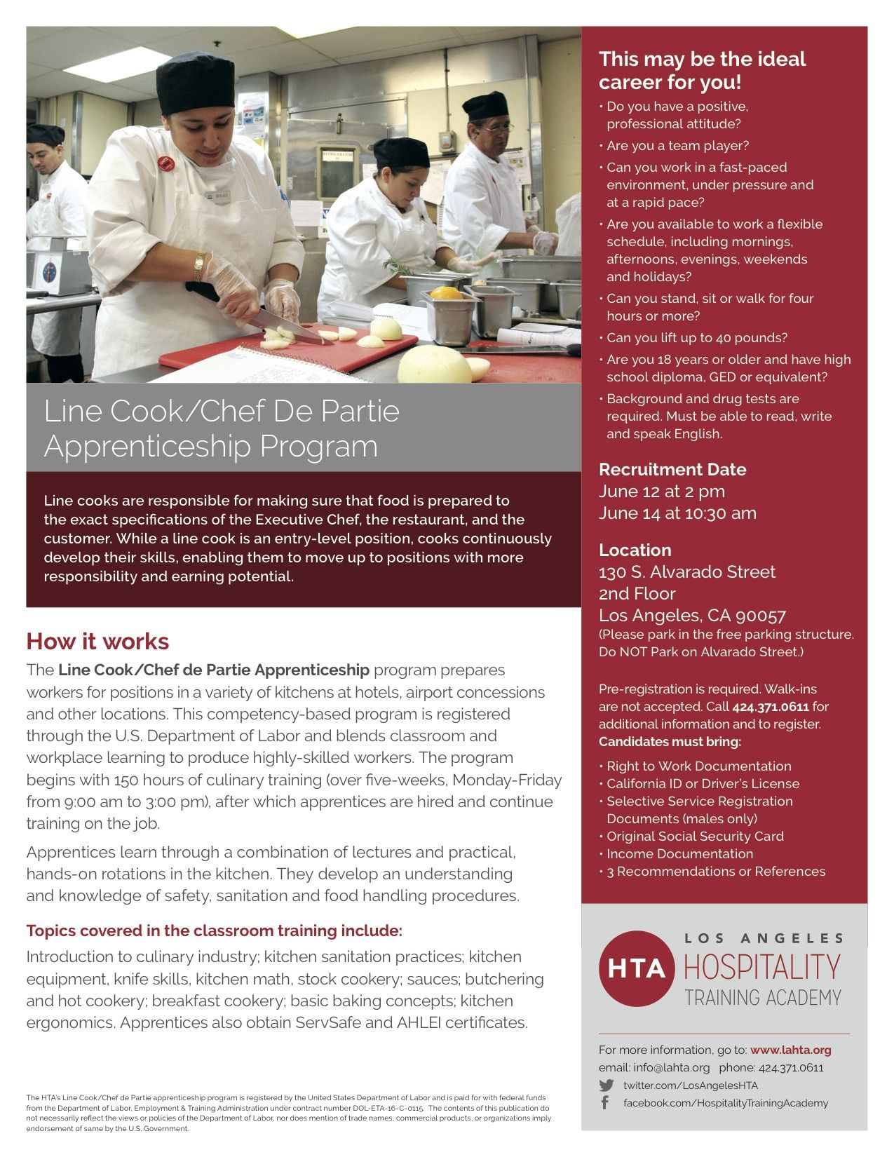 Line Cook/Chef De Partie Apprenticeship Program   Hospitality Training Academy  Los AngelesHospitality Training Academy