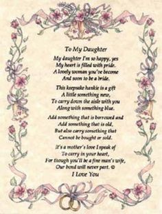 Wedding Day Quotes To Daughter From Mom Quotesgram J Wedding