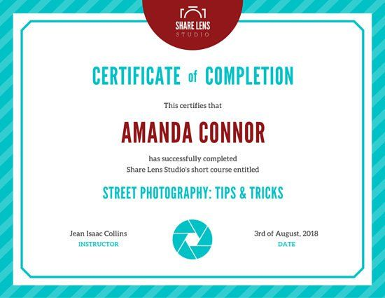 Striped Course Completion Achievement Certificate Certificado - free templates for certificates of completion