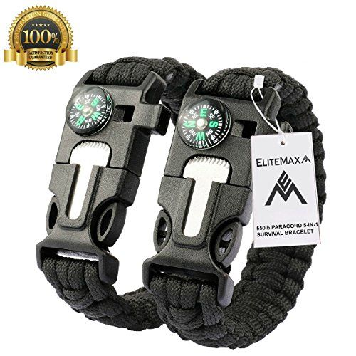 100 Buckle with Whistle Compass Flint Fire Starter Scaper for Paracord Bracelet