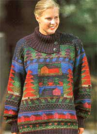 The Pihapuu sweater by textile artist Sirkka Könönen, Finland. Published and released as material kit in 90's. See online at Taito Pirkanmaa crafts store.