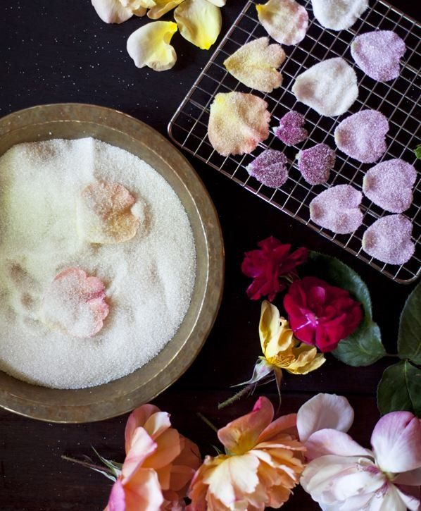 How to candy a rose petal {use un-sprayed roses, brush with egg whites, cover in fine sugar, leave on rack to dry}