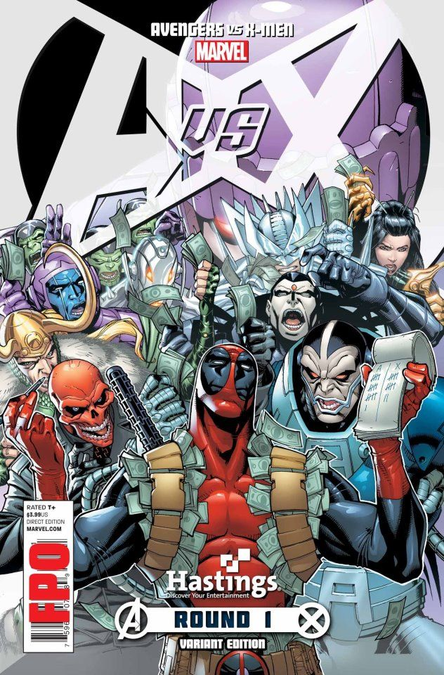 Deadpool Taking Bets Cover The Only Good Thing About Avengers Vs X Men Sales Gimmick Avengers Comics Comic Books Art