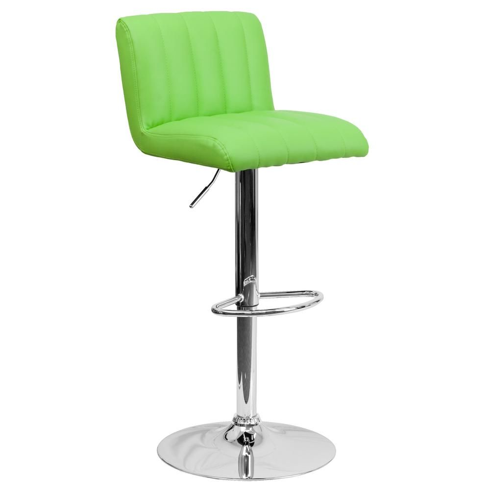 Adjustable Height Green Cushioned Bar Stool