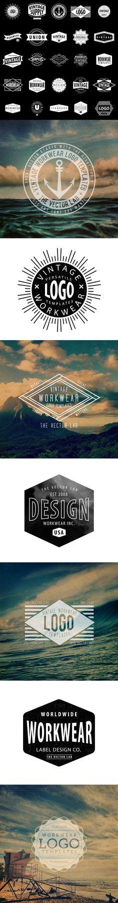 Logo Templates Vintage Workwear Logo templates, Adobe illustrator