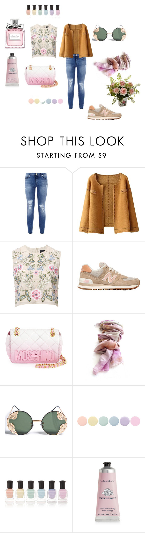 """Без названия #20"" by explorer-14023136256 ❤ liked on Polyvore featuring 7 For All Mankind, Needle & Thread, New Balance, Moschino, Spitfire, Deborah Lippmann, Therapy and Christian Dior"