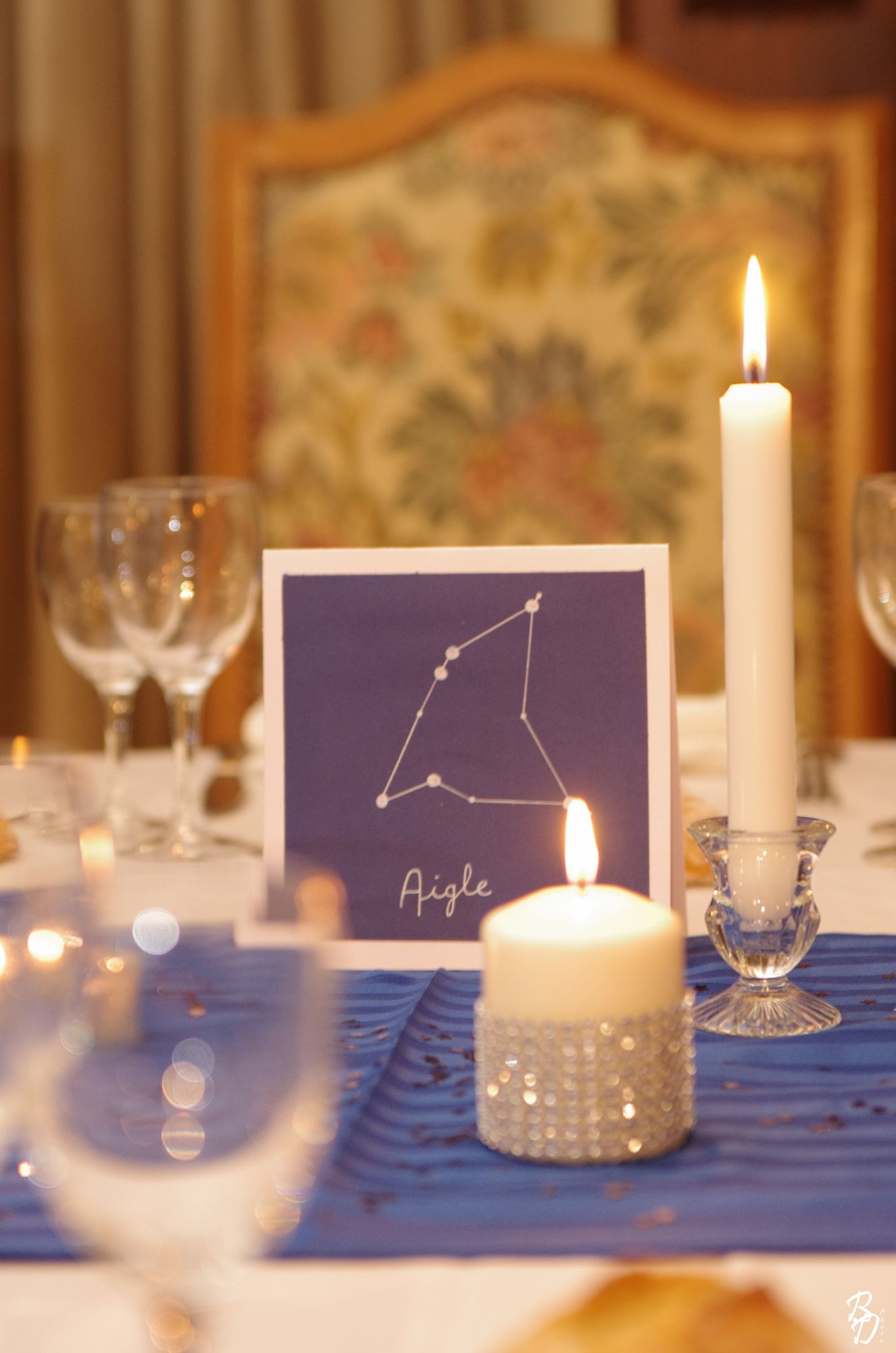 constellation table marker and chic simple decor.