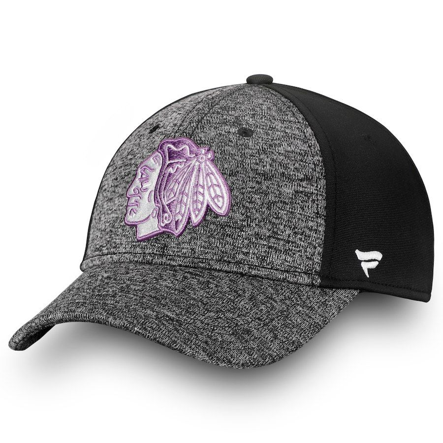 8a2d92de4d9 Men s Chicago Blackhawks Fanatics Branded Black White 2018 Hockey Fights  Cancer Speed Flex Hat