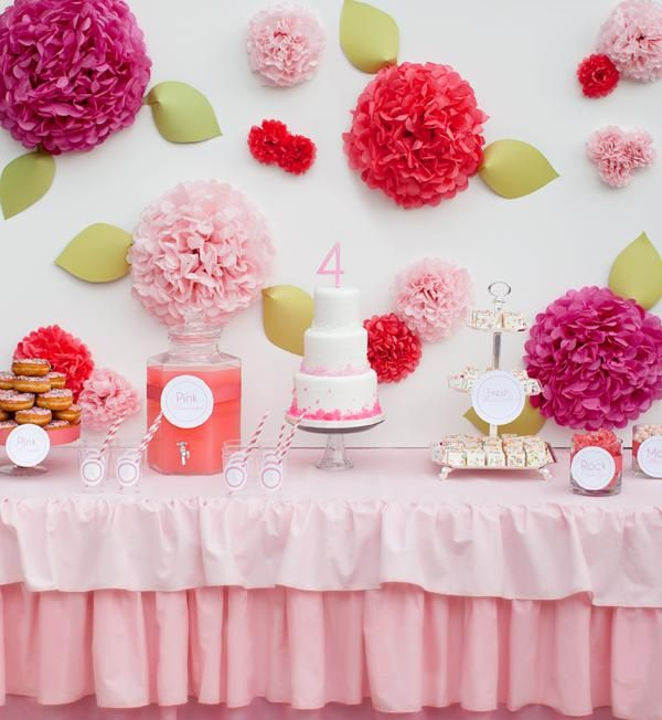 A PINK STRAWBERRY 4TH BIRTHDAY PARTY featured on Kara's Party Ideas- www.KarasPartyIdeas.com! So cute! Love the flowers made out of tissue pom poms and the rock candy cake.