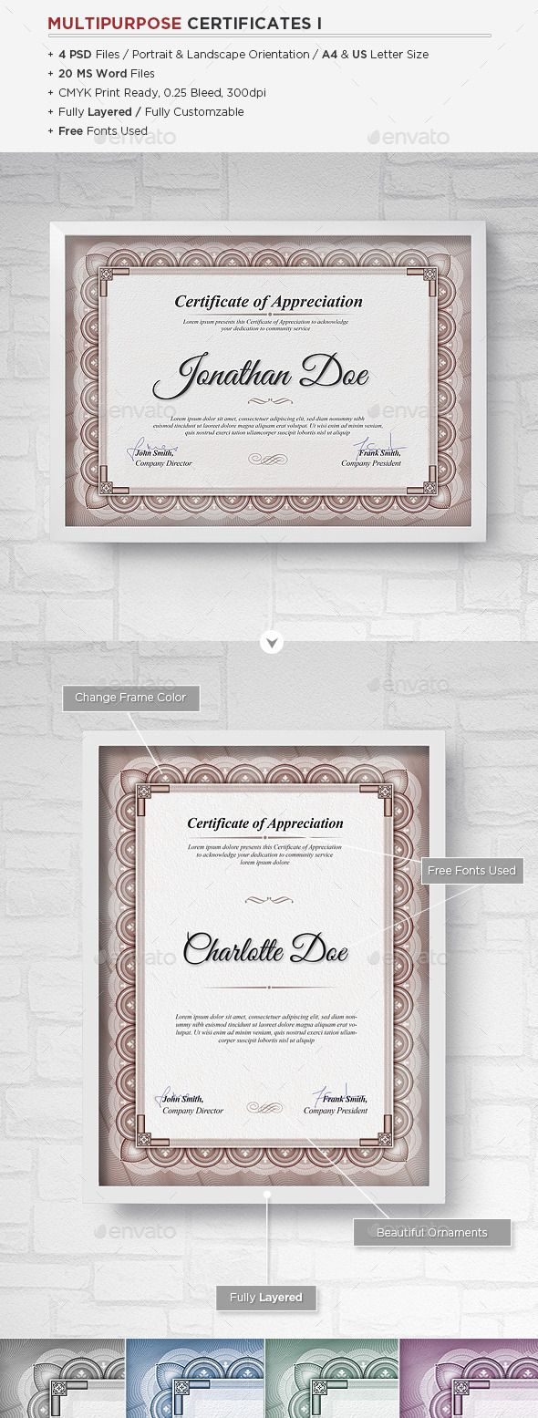 Multipurpose Certificates  Certificate Certificate Design And