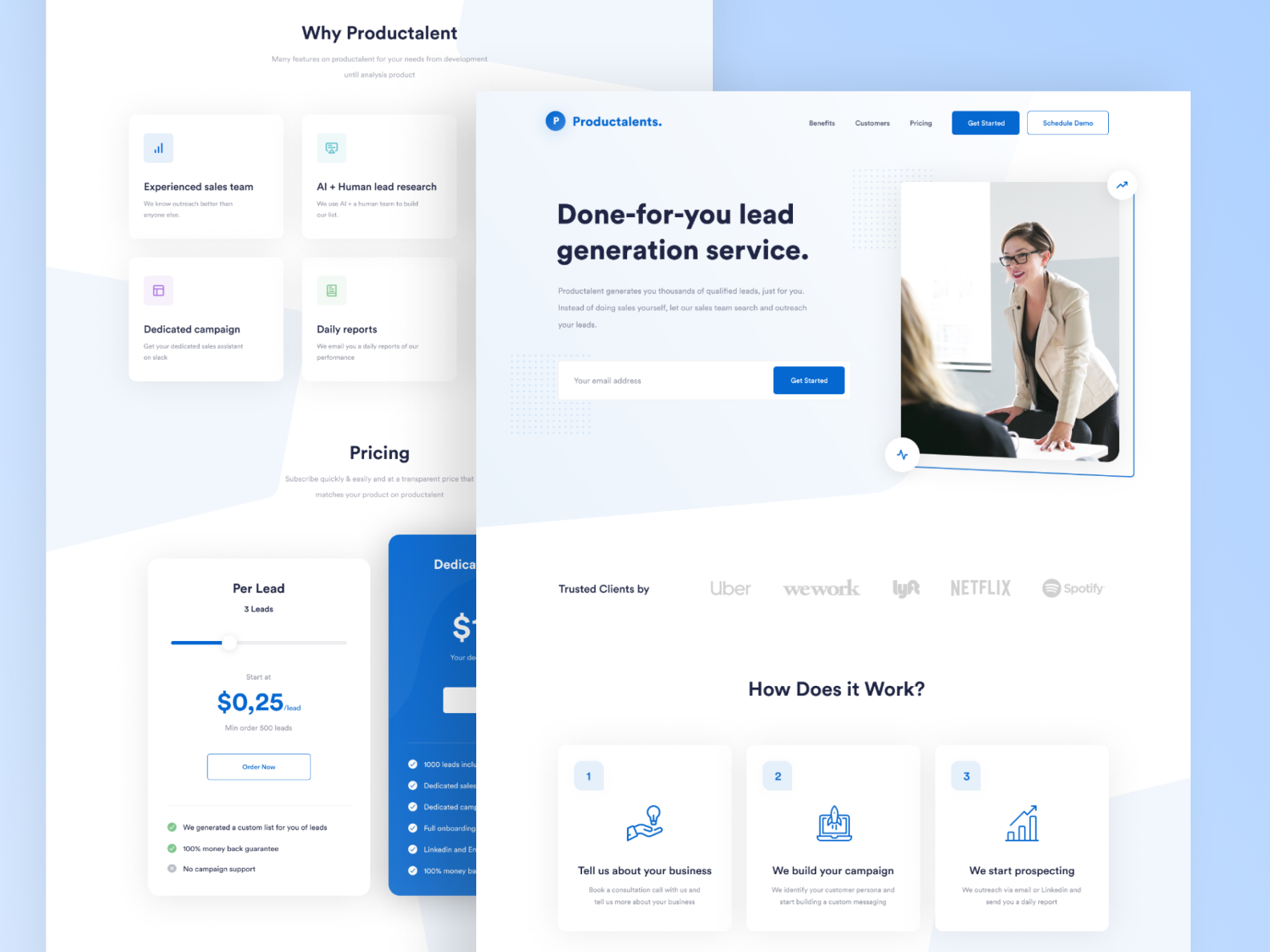 Productalent Landing Page Landing Page Free Business Card Design Business Card Design
