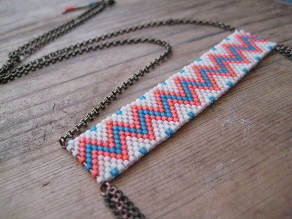 Beadwork Necklace with Chain Fringe