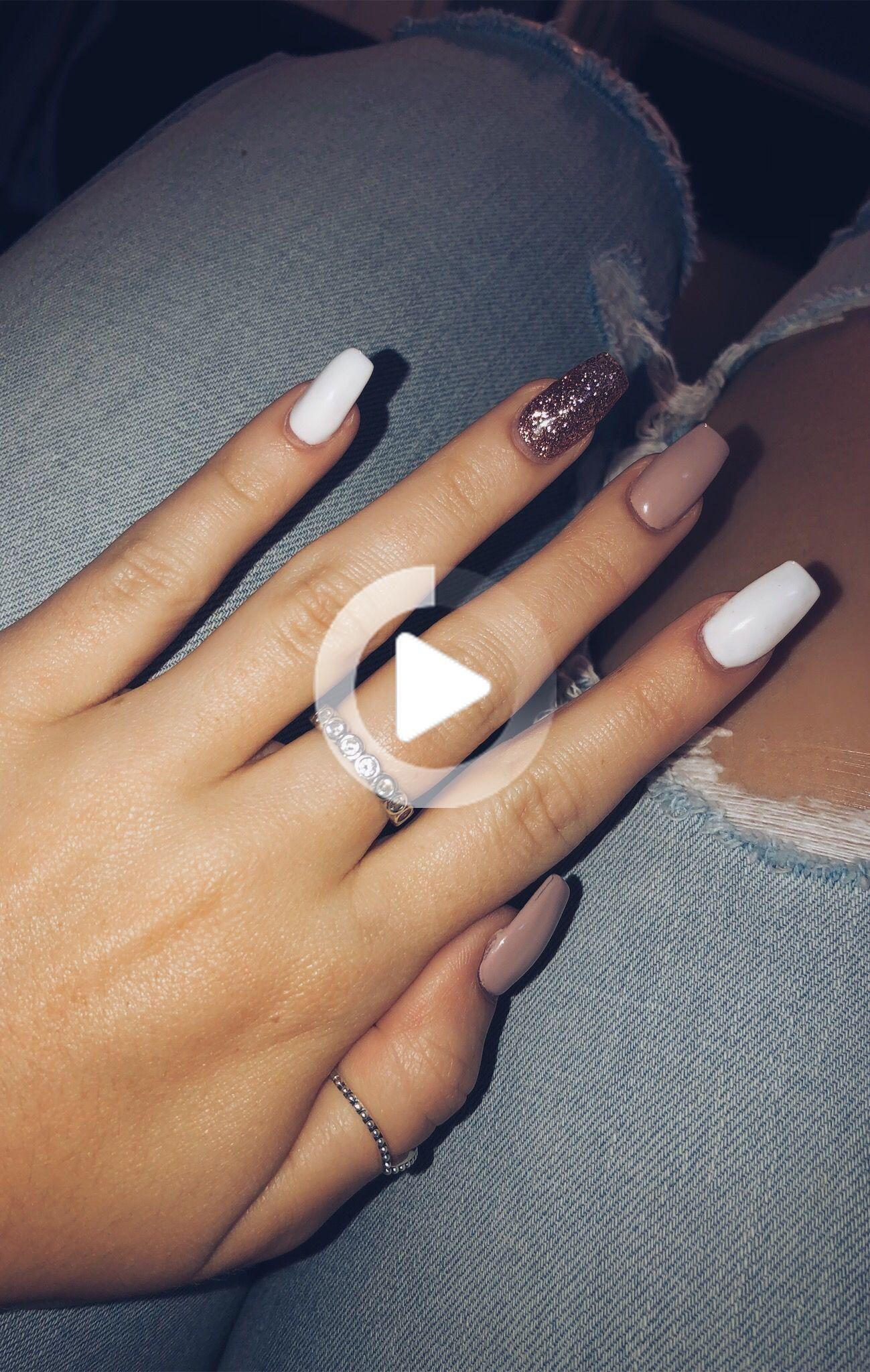 Rose Gold Gel Nails Long Pink White Rose Gold Sparkle In 2020 Gold Sparkle Nails Gold Gel Nails Gold Nails