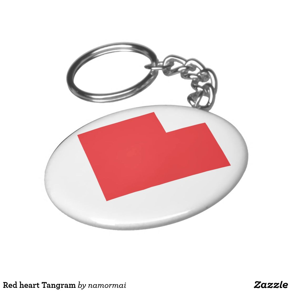 Red heart tangram keychain