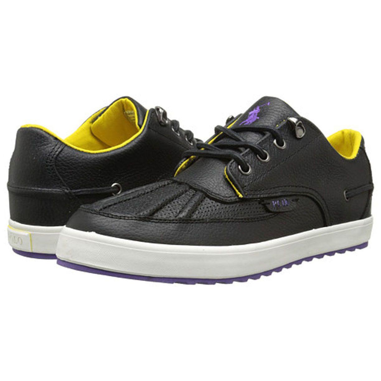 #ebay tie sale men fashion POLO Ralph Lauren Men Size 8.5 RAMIRO leather Sneakers  Black