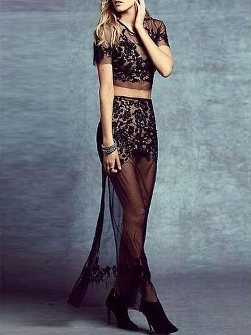 b08b351c4c Black Sheer Lace Embroidery Crop Top And Split Maxi Skirt