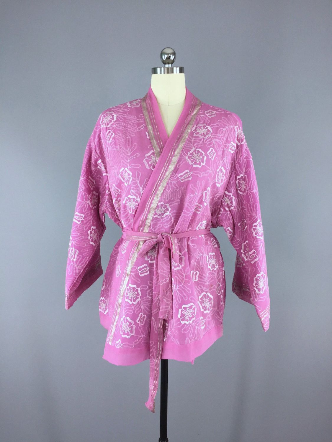 Embroidered Pink and Silver Silk Chiffon Kimono Cardigan made from a Vintage Indian Sari #saridress