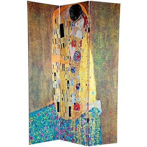 The Kiss and Tree of Life 6-Feet Double Printed Klimt Room Divider Floor Screen Oriental Furniture Big Large Sized Wall Art Print