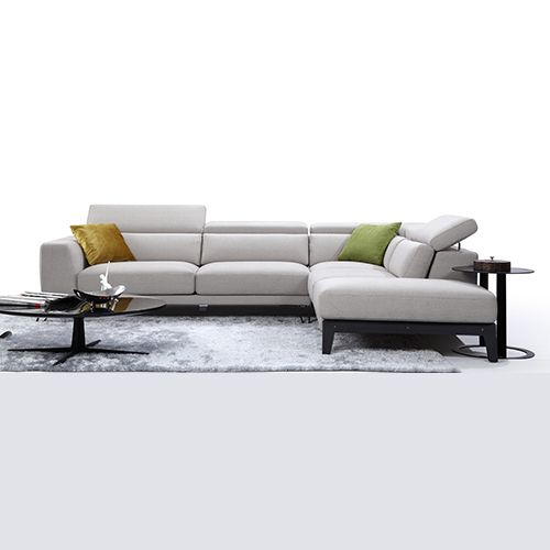 Chelsea 5 Seat Fabric Sofa w/ Chaise in Light Grey | Buy Fabric Sofas