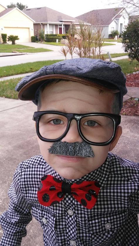 100th Day Of School Old Man Costume For Kids Mustache Glasses And Painted Golf Stick From Dollar Tree Old Man Costume School Event Dress Kids Old Man Costume