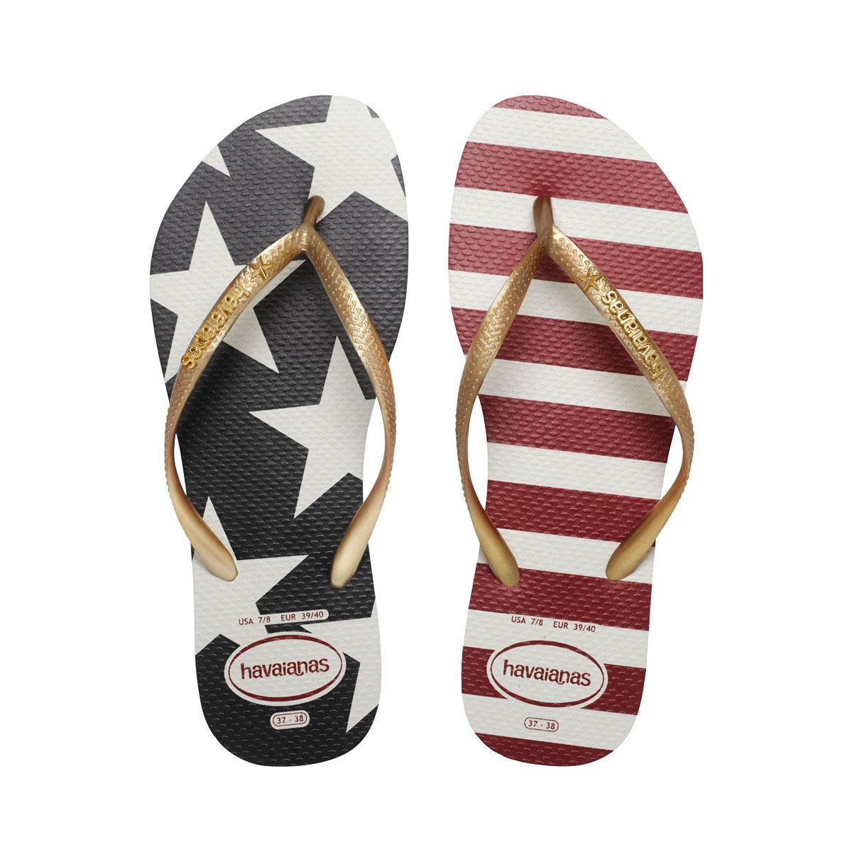Havaianas Womens Stars and Stripes USA Flip Flops- Havaianas