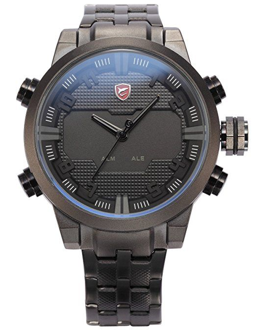 Shark Hombre Reloj de pulsera LED analógico digital cuarzo 5cm Reloj Carcasa extragroß