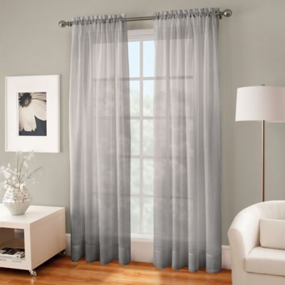 Crushed Voile Sheer 108 Rod Pocket Window Curtain Panel In Fog