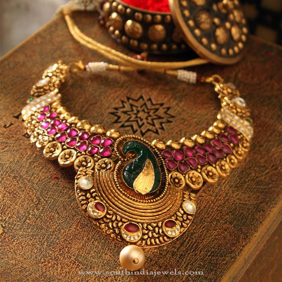 Gold Necklace with Pink Stones Antique necklace Pink stone and