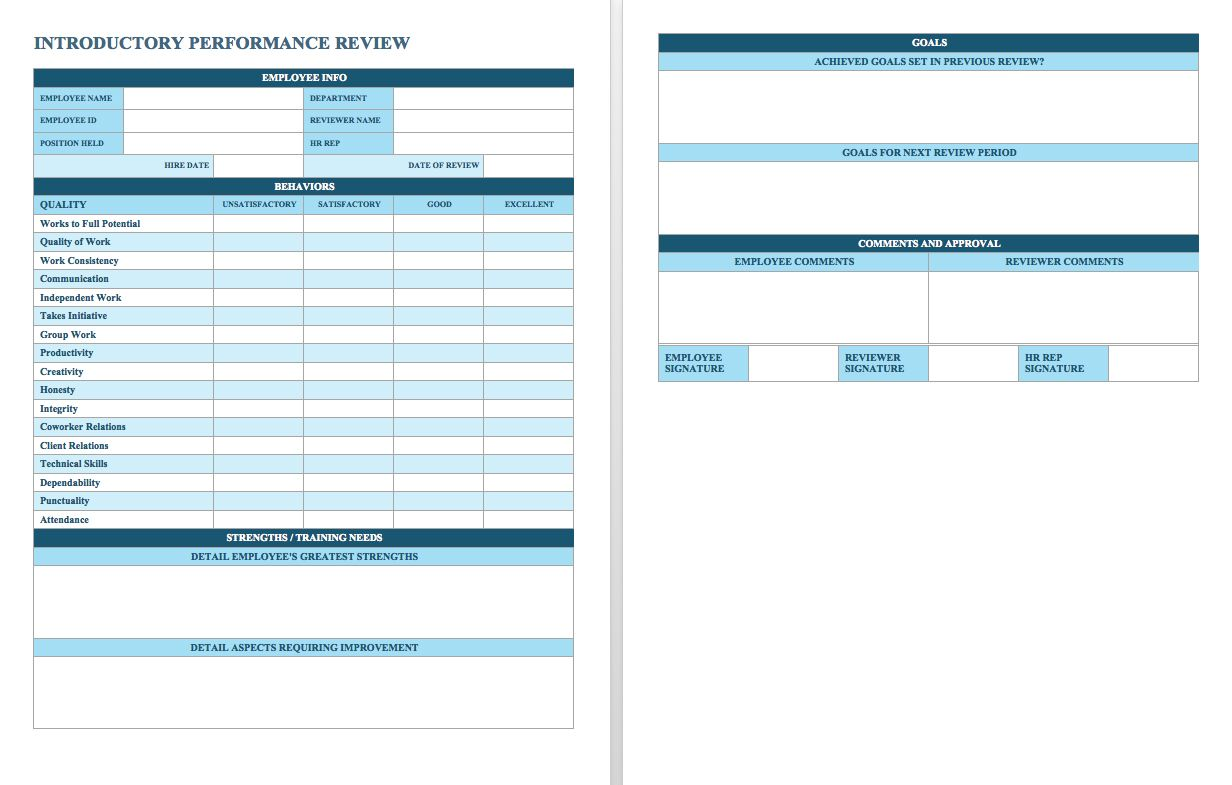 Free Employee Performance Review Templates  Smartsheet  Just