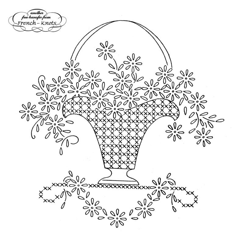 How To Draw A Beautiful Flower Basket : Vintage embroidery transfers flowers daisies fruit