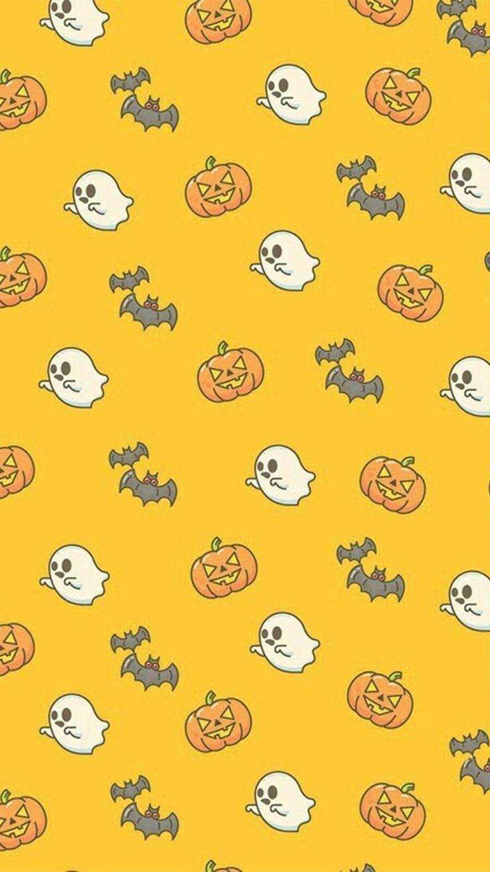 Ghosts, bats and pumpkins phone Halloween background wallpaper #Halloween #HalloweenWallpap .... #phonebackgrounds