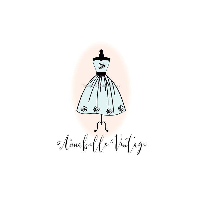 Vintage Clothing Shop Logo Premade Logo Design Dress Logo Etsy In 2020 Premade Logo Design Shop Logo Vintage Clothes Shop