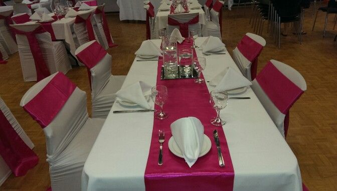 We did tables..chair covers and sashes and centre pcs