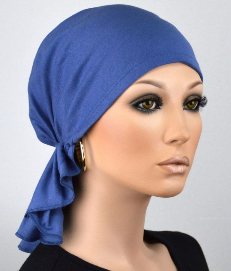 Frauen Cotton Ruffle Print Krebs Chemo Hut Beanie Schal Turban Kopf Wrap