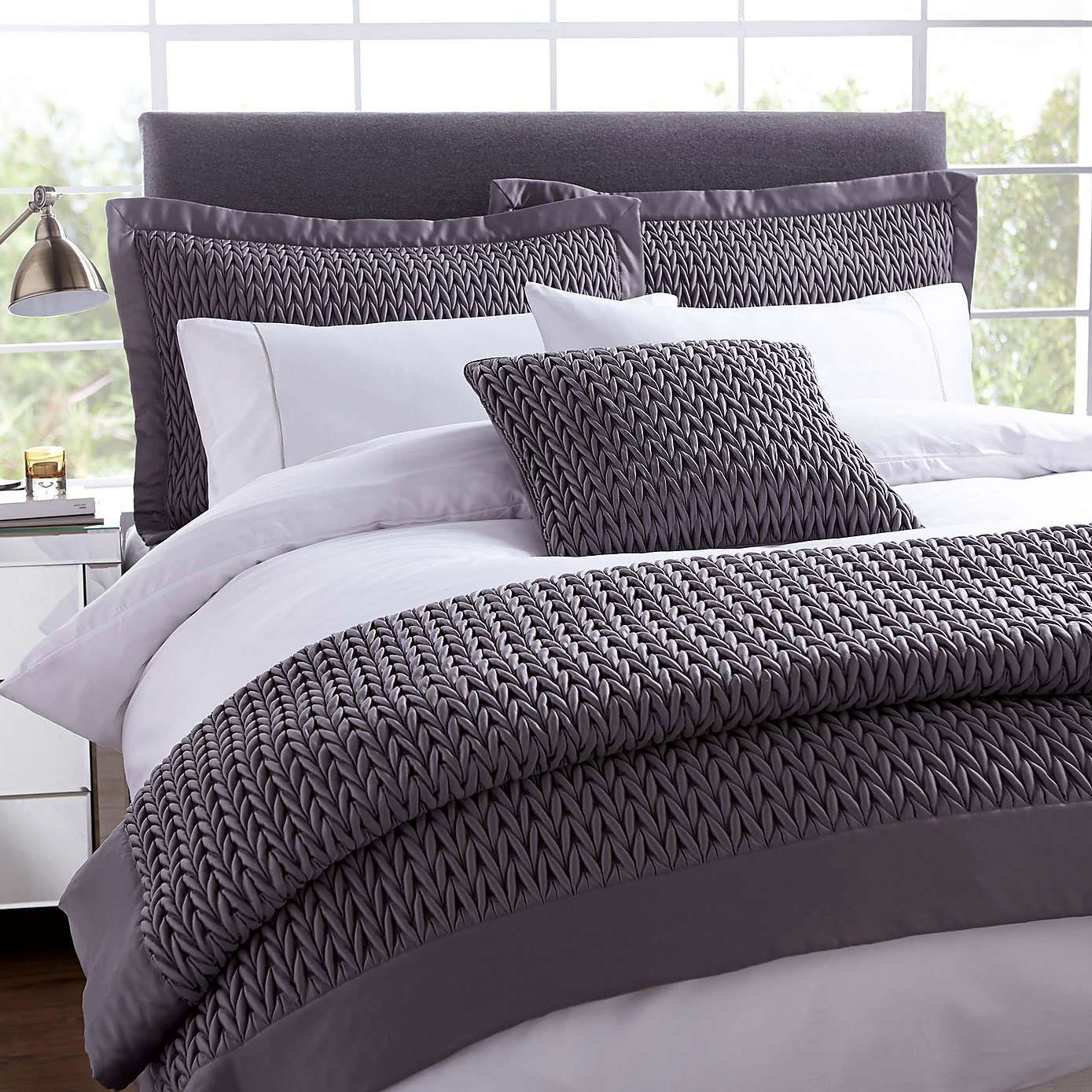 hotel charcoal piccadilly square cushion | dunelm | new home ideas