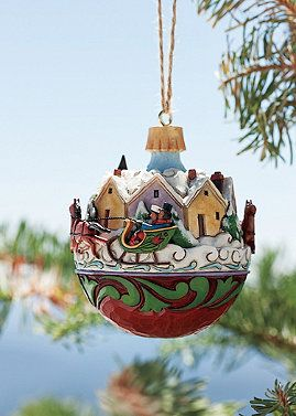 This Musical Sleigh Ball Ornament Plays Jingle Bells As The Village Scene Rotates A Holiday Favorite N Jim Shore Christmas Christmas Clay Christmas Ornaments