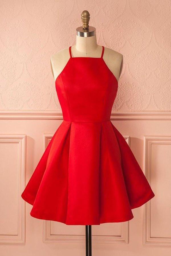 Short Straps Red Cheap Homecoming Dress for Girls,Halter