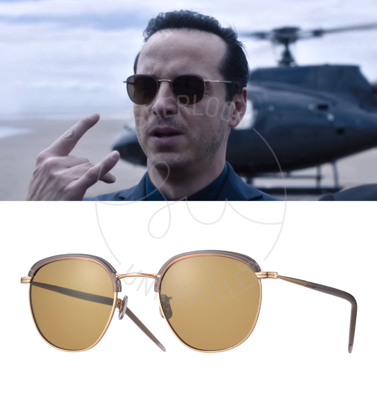 7593af82d8 Eyevan 7285 Model 735 Clubmaster Sunglasses As worn by Jim Moriarty in The  Final Problem Tortoiseshell acetate with metal detailing.