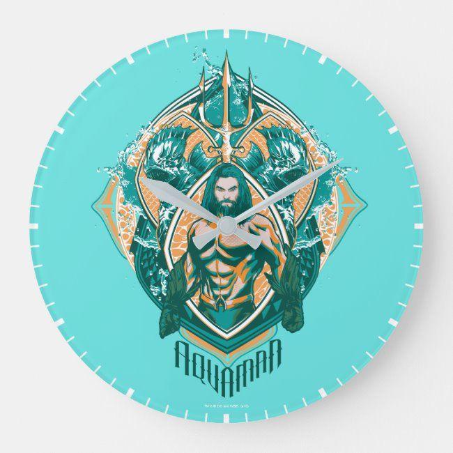 Aquaman  Aquaman & Trenchers Graphic Large Clock ,