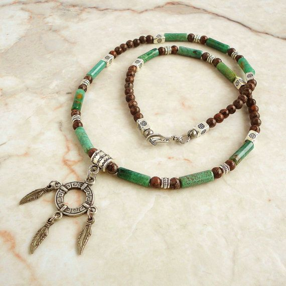Mens Native American Beads: Men's Necklace, Green African Jade & Brown Jasper Mens