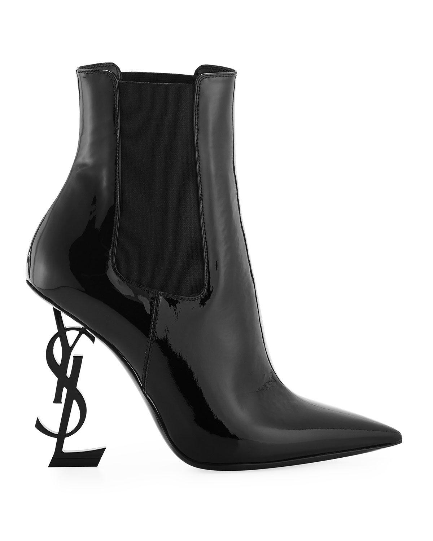e88f671b Saint Laurent Opyum Patent Booties with Monogram Heel in 2019 ...