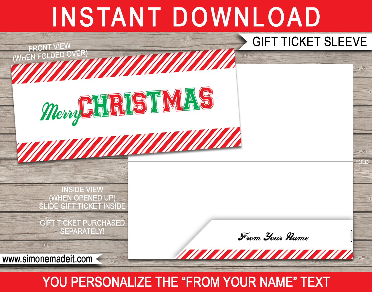 christmas gift ticket sleeve template sports font in 2018