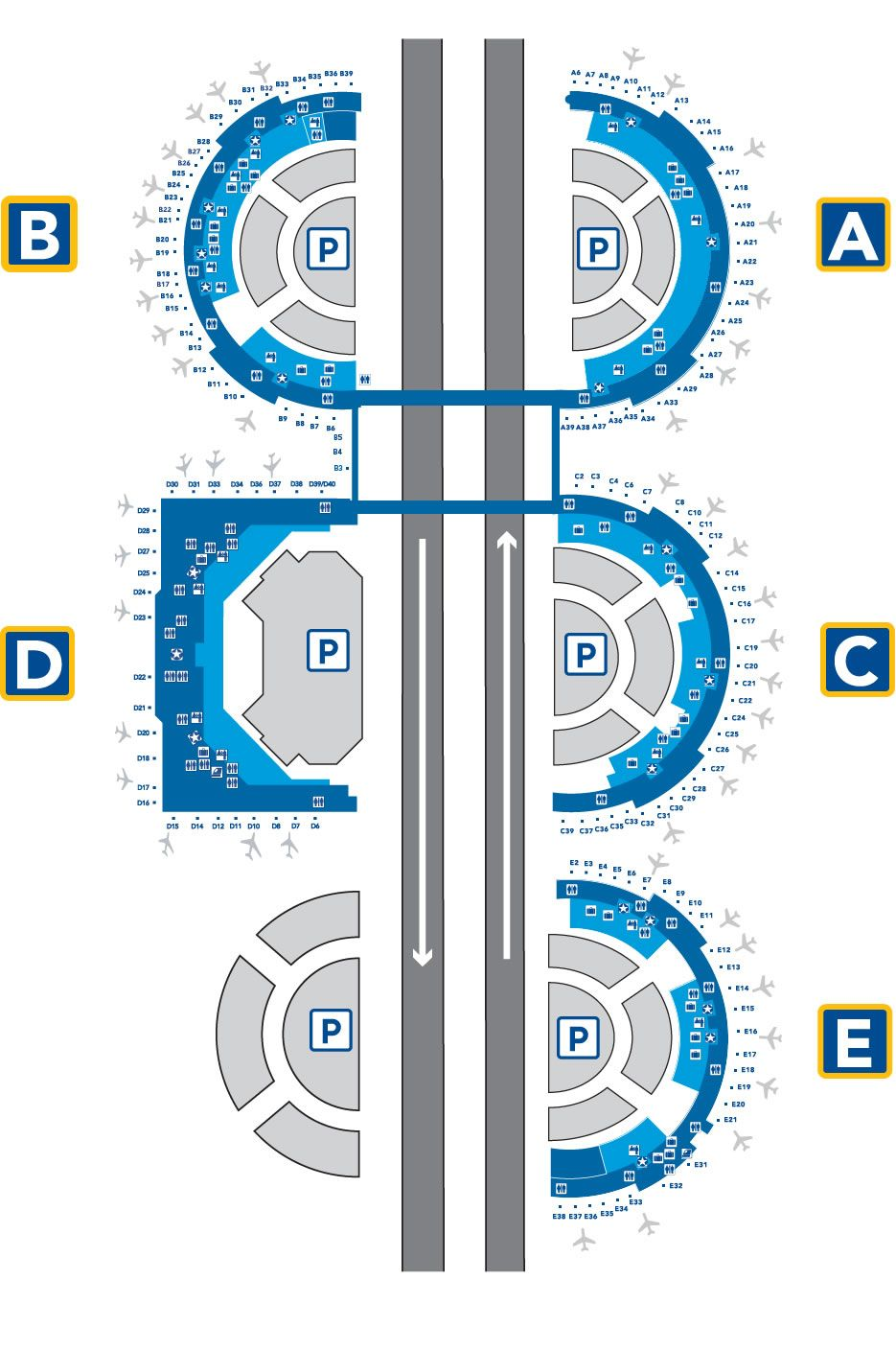 DFW Airport Terminal Layout. One of the easiest airport to navigate on
