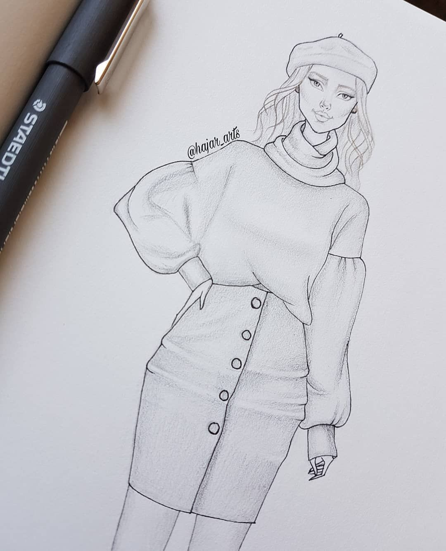 "Photo of H A J A R   A M E N C H A R on Instagram: ""Sketch 🌼 #fashion #art #croquis #figurine #fashionable"