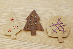 modern embroidery on wood christmas ornaments