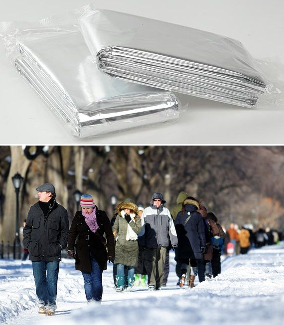 Winter stay-warm tip: you can cut up an emergency blanket (mylar) into a vest to wear under your coat; circular pieces to line your coat pockets; and rectangular pieces to make your shoes/boots thermal.