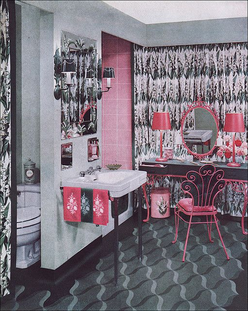 1951 armstrong pink & green bathroom | flickr - photo sharing, Hause ideen